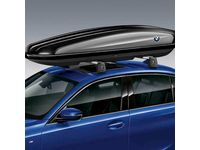 BMW 530e 520 Liter Roof Box, Lockable - Black with Silver Accent and Roundel - 82732406459