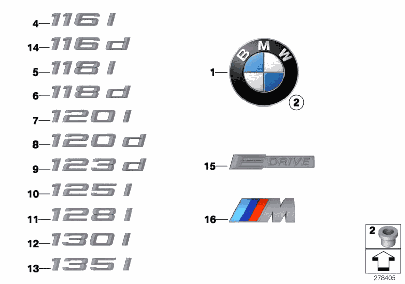 2011 BMW 135i Coupe(E82) Emblems / Letterings