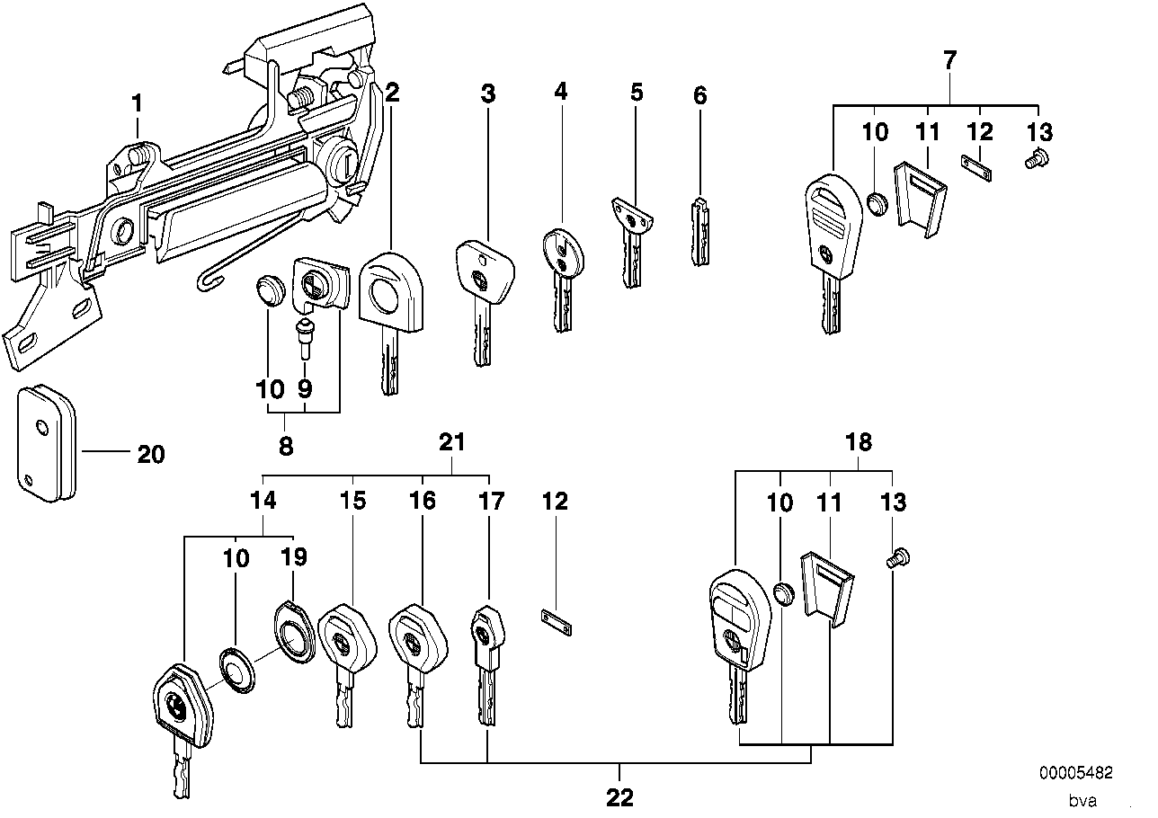 1992 Bmw 525i Sedan E34  Door Handle Front    Lock    Key