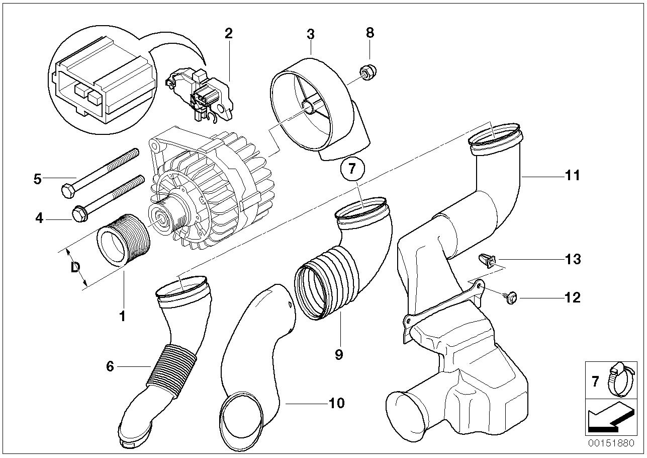 2003 Bmw 325ci Coupe M54 Engine E46  Alternator Single Parts