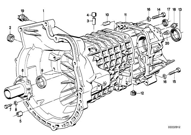 1991 Bmw 318i Convertible E30 Housing Attaching Parts Getrag 240