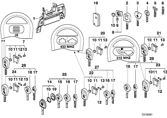 1996 Bmw 328i Convertible E36 Door Handle Front Lock Key