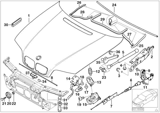 [SCHEMATICS_48IS]  41617042893 - Genuine BMW Hood | 2001 Bmw E46 Engine Diagram |  | BMW Parts